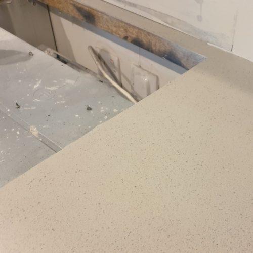 BADLY DAMAGED KITCHEN WORKTOP PAN BURN 02 AFTER