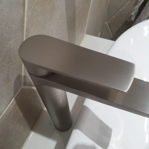 BRUSHED CHROME MATT STAINLESS STEEL TAP COATING REPAIR AFTER