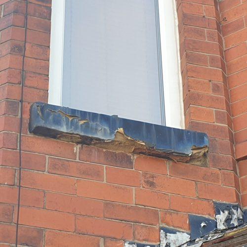 CONCRETE SAND STONE WINDOW SILL CILL CRACK CHIP REPAIR REFURBISHMENT BEFORE 3