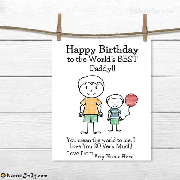 Name Birthday Cards For Dad From Son