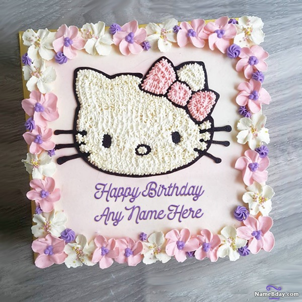 Hello Kitty Birthday Cake Images For Kids With Name