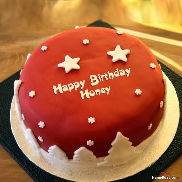 Happy Birthday Honey Image Of Cake Card Wishes