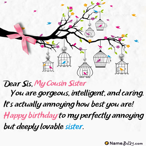 Happy Birthday My Cousin Sister Image Of Cake Card Wishes