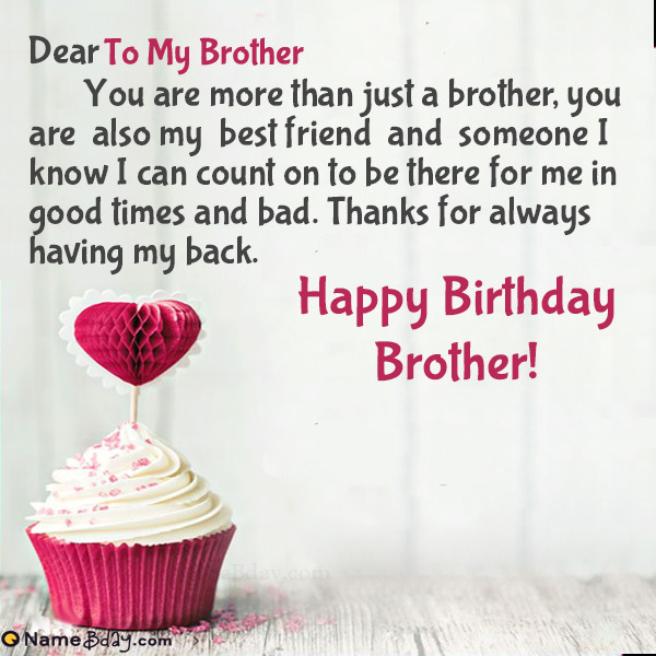 Happy Birthday To My Brother Image Of Cake Card Wishes