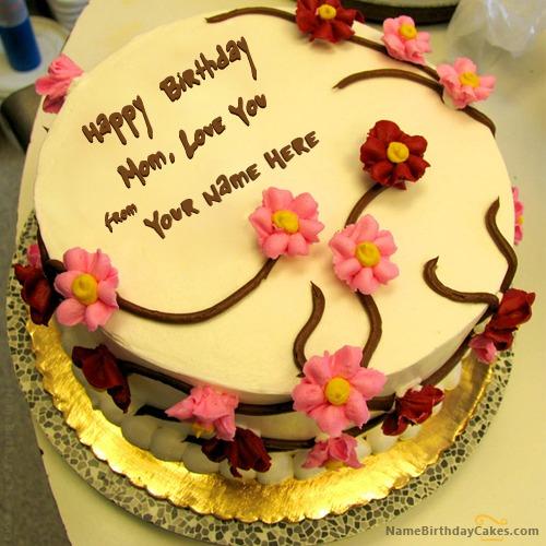 Beautiful Happy Birthday Mom Cake With Name