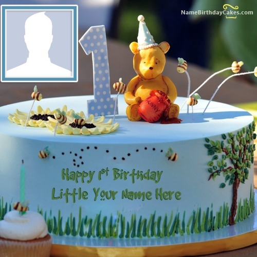 Happy 1st Birthday Cake With Name And Photo