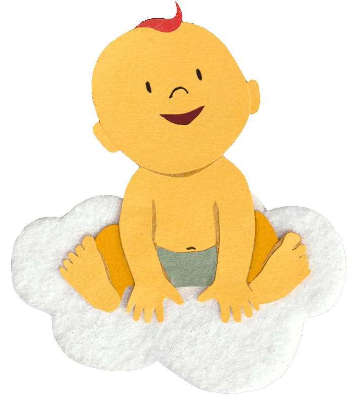 A drawing of a newborn whose name came from a baby name research tool