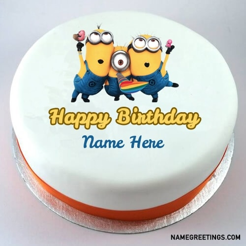 Superb Write Name On Minions Happy Birthday Cake Funny Birthday Cards Online Fluifree Goldxyz