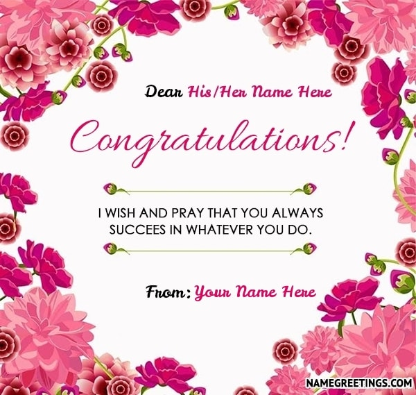 create congratulations greeting card with name