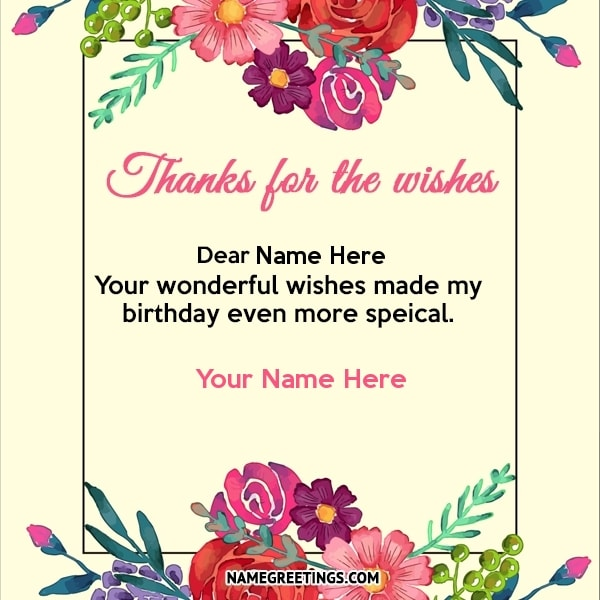 Fabulous Write Name On Thanks For Birthday Wishes Card Personalised Birthday Cards Paralily Jamesorg