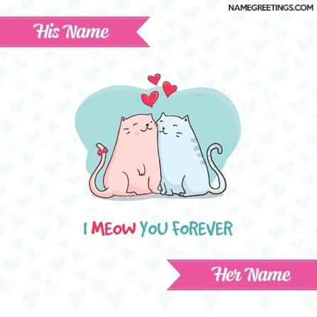 write couple name on cute love card