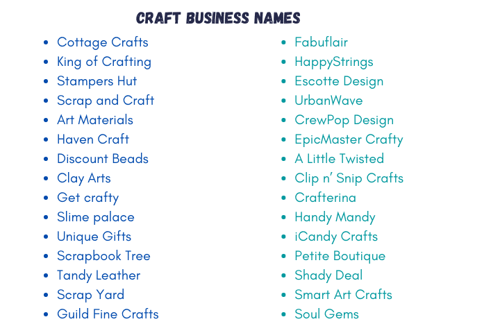 1000 Creative Art And Craft Business Names 2021