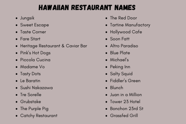 Hawaiian Restaurant Name