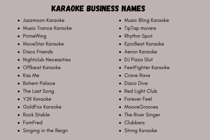 Karaoke Business Name