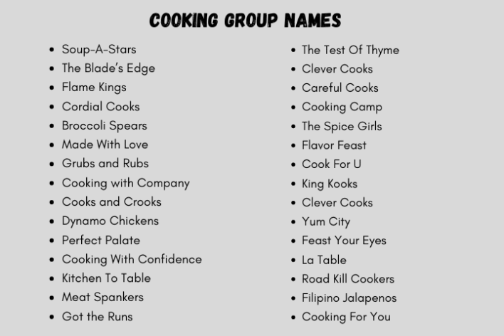 Cooking Group Names