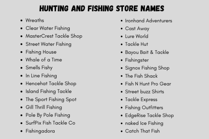Hunting And Fishing Store Names