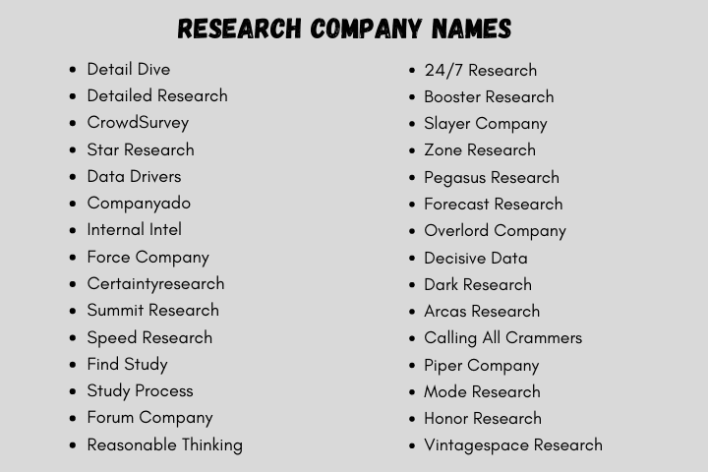 research Company Names