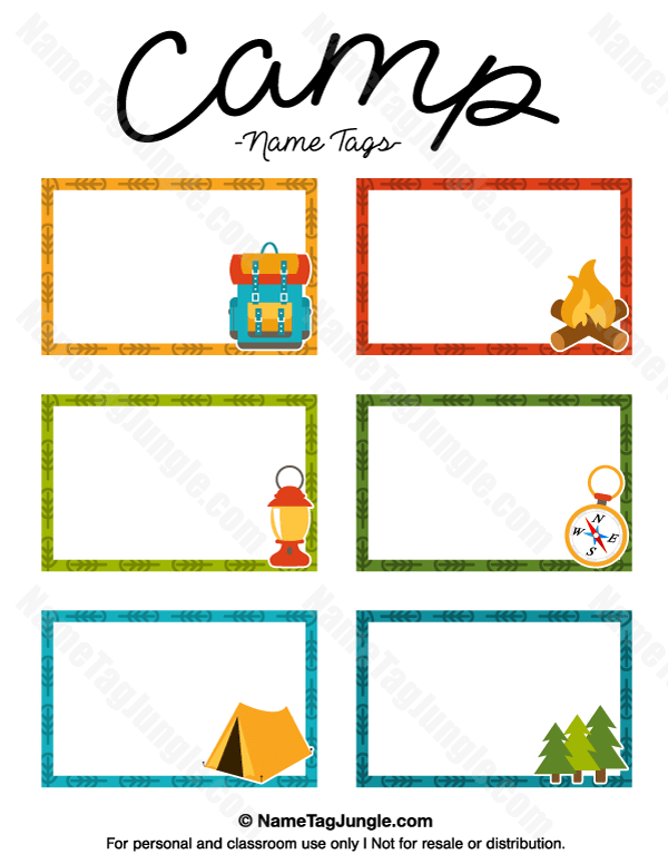 Printable Camp Name Tags
