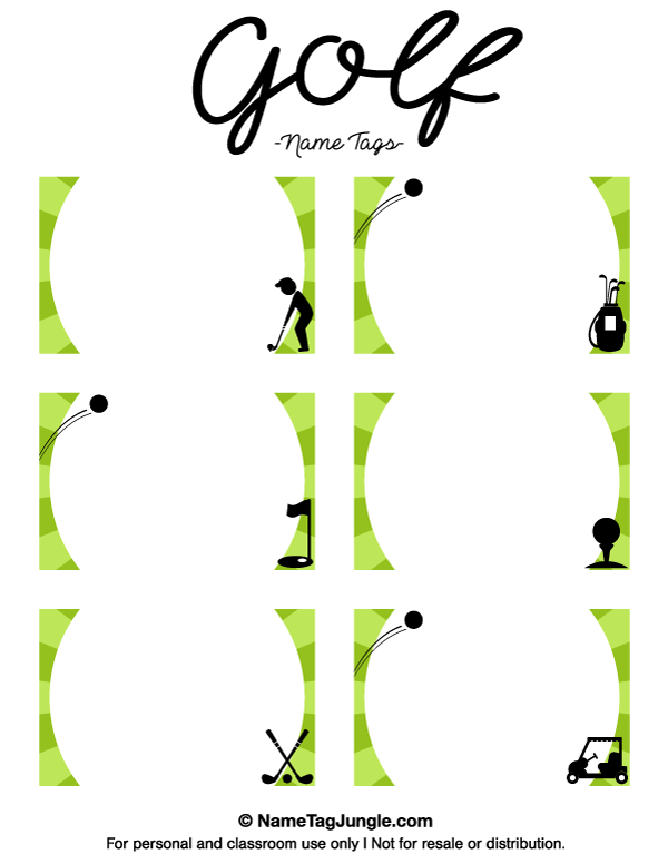 Printable Golf Name Tags