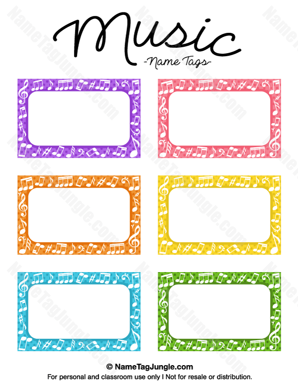 Printable Music Name Tags