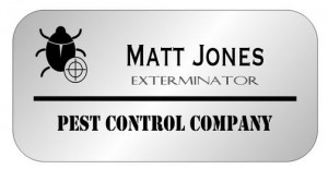 pest control rectangle name tag 3 line silver