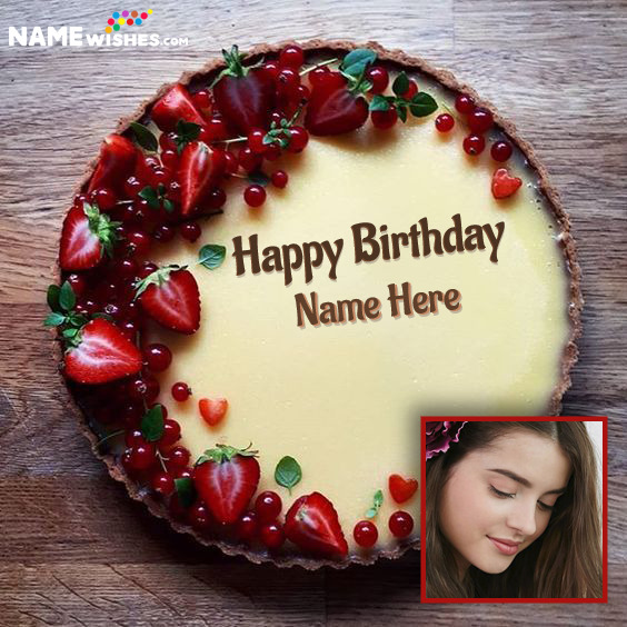 Strawberries Caramel Cream Happy Birthday Cake With Name