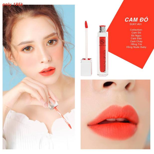 son kem diamond lipstick - màu #01 cam đỏ