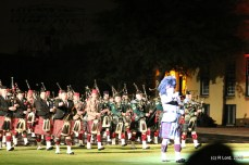 A line of pipers advances