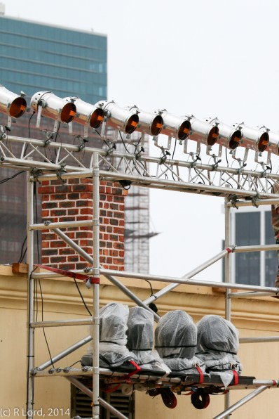 Rain covers to protect the lights