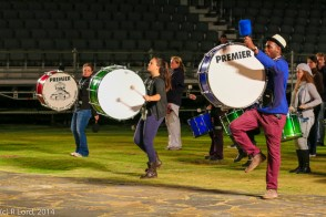Bass drummers in sync