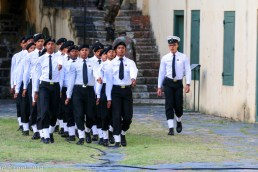 The Sea Cadets march to the mess tent