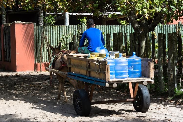 Homem transporta água potável em carroça puxada por jumentos