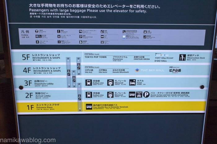 羽田空港国際線ターミナル案内板
