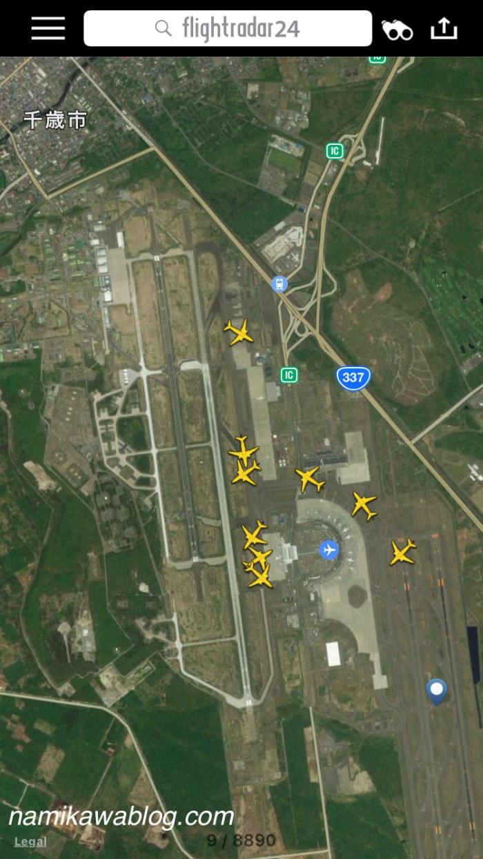 Flightradar24での新千歳空港上空の様子