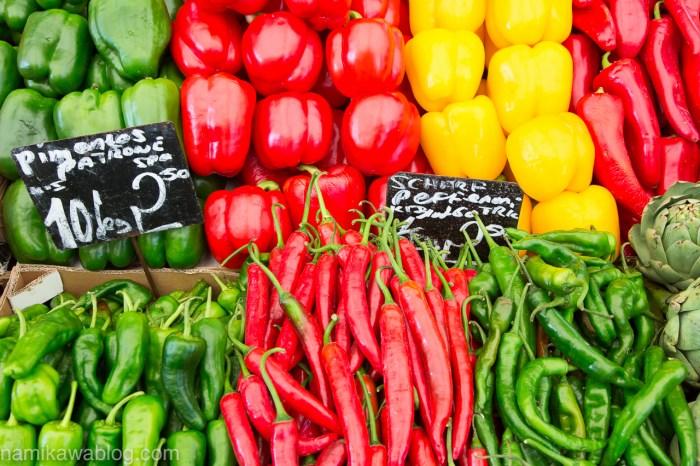 市場の野菜クローズアップフォト