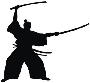 Abstract vector illustration of samurai