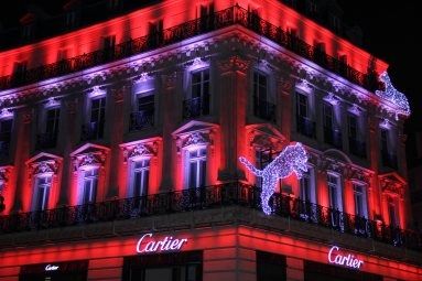 A Cartier store bursting with color