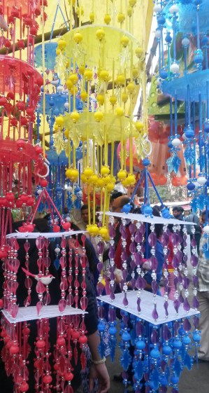 Colorful home decor being sold on the street