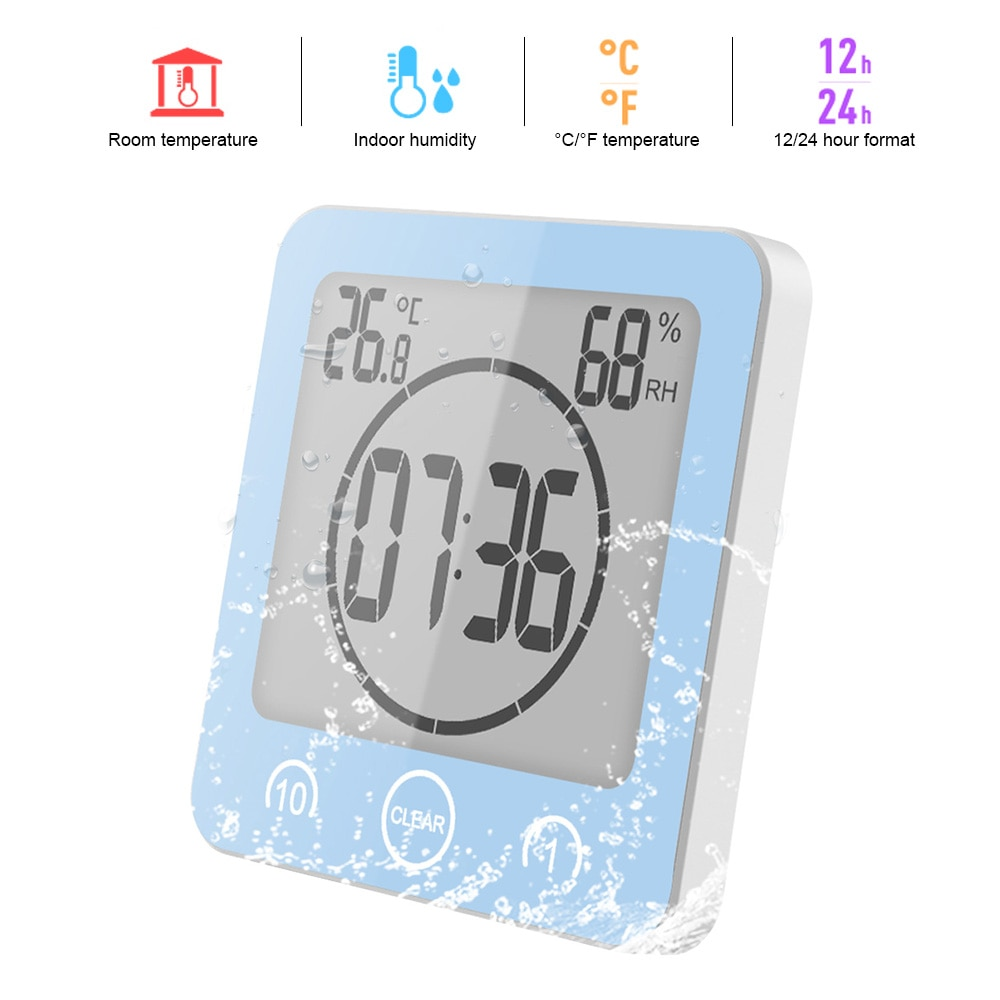 Digital Bathroom Clocks Thermometer Hygrometer Lcd Suction Cup
