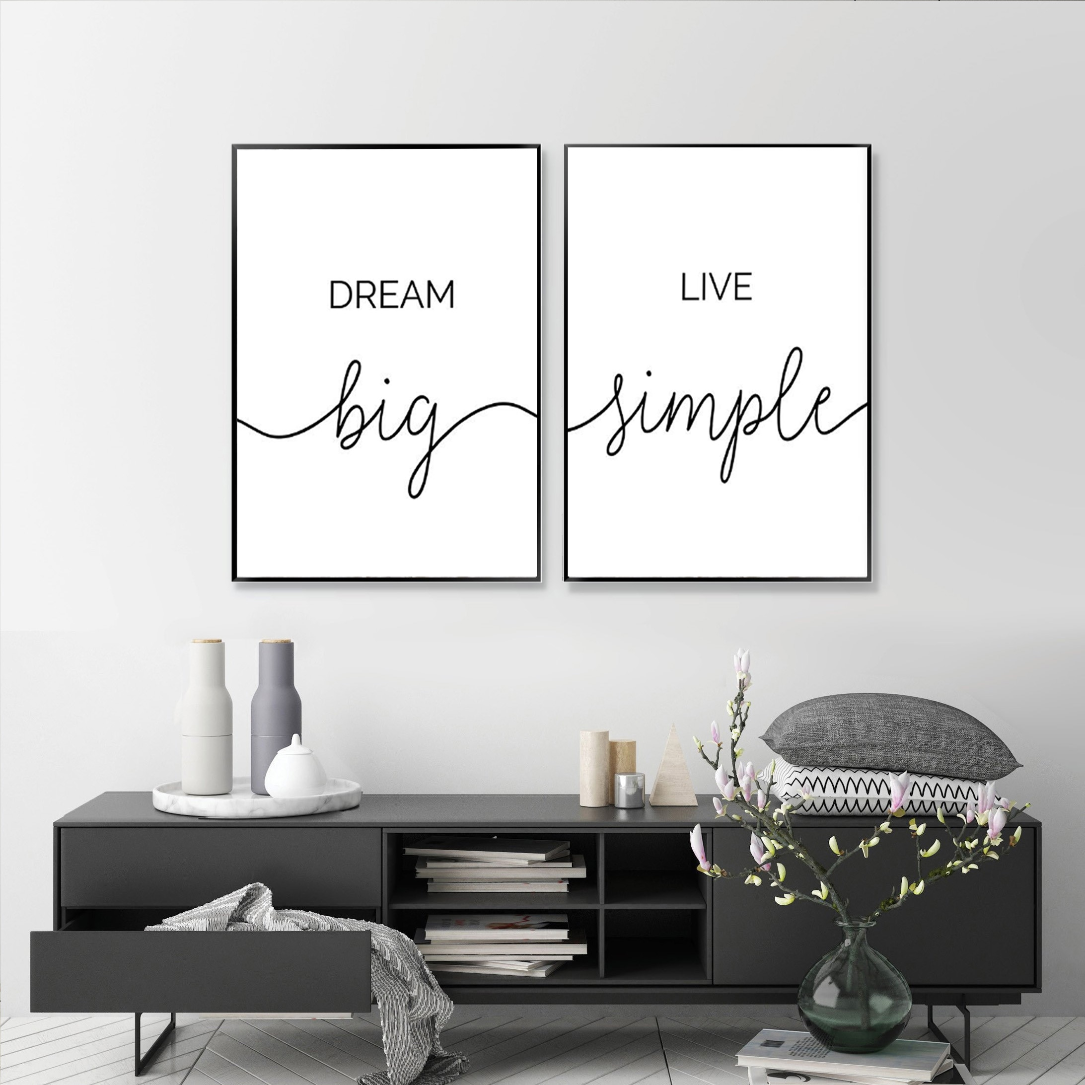 Minimalist Dream Big Live Simple Quote Canvas Paintings Black And White Bedroom Wall Art Prints Poster Pictures For Home Decor Nana S Corner Beauty Cosmetic