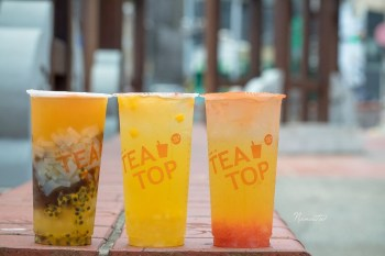 TeaTop第一味 台中逢甲店。咀嚼控必喝,全新推出果粒茶,喝的到滿滿果肉