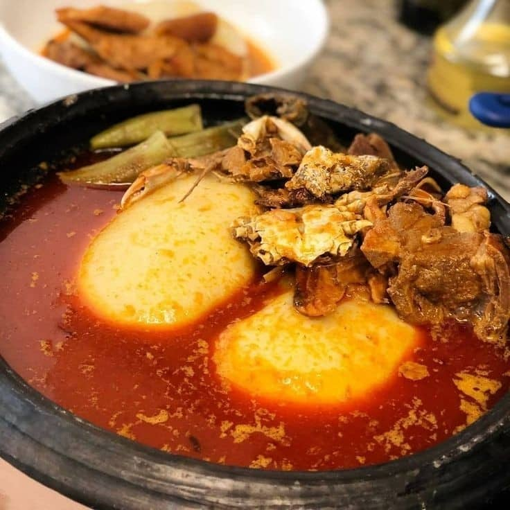 Fufu with palm but soup. (local food)