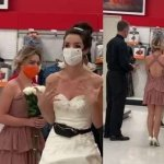 Woman storms her boyfriend's workplace in wedding dress, demands to be married on the spot