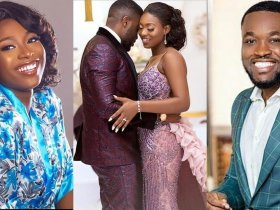 Kennedy Osei reacts after his wife reportedly gave birth to a set of twins