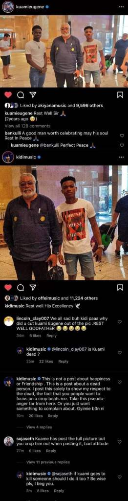 Kidi criticised by fans for cropping Kuami Eugene out of their photo w J.J Rawlings