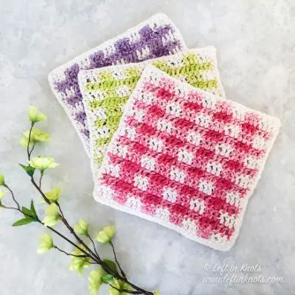 Spring Gingham Dishcloths by Left in Knots