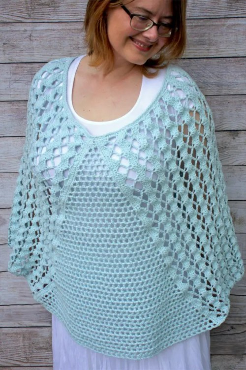 Whimsical Waves Poncho Free Crochet Pattern With Feels Like Butta Yarn