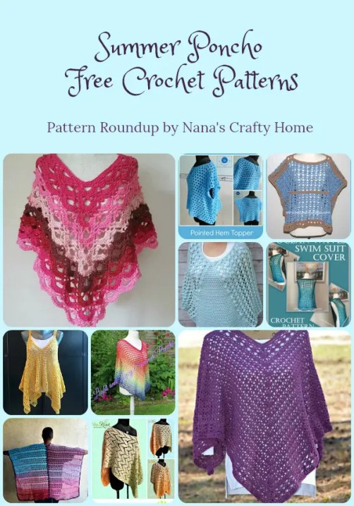 Summer Poncho Free Crochet Pattern Roundup By Nanas Crafty Home