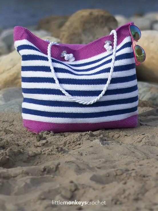 Classic Beach Bag Crochet Pattern by Little Monkeys Crochet