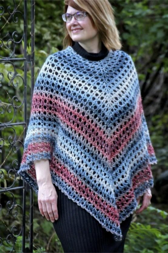 Midnight Madness Poncho Free Crochet Pattern Lion Brand Shawl In A